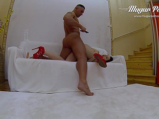 Dark-haired whore just comes to bruiser's apartment but he instantly reaches pussy in various poses