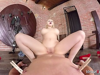 Blonde Angel Wicky puts clothespins on man's body, sucks cock, rides it, and gives handjob in VR porn video