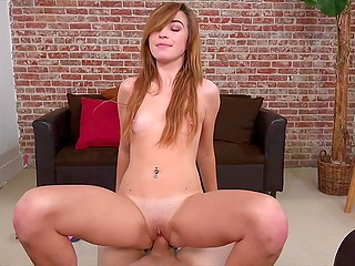 Red-haired cutie with tanned body and small boobies gently serves hard dick in POV video