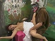 Plot of famous fairy tale was changed to entertain adult viewers with group anal fucking
