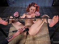 Red-haired chick receives thrill being tied up in experienced pervert's basement