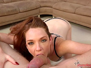 Red-haired chick in leopard lingerie focuses on feet before performing blowjob in POV video