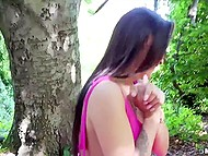 Brunette girl earned some extra money thanks to quick fucking with stranger in forest 7