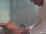 Pervert photographer seduced attractive blonde for hot sex in bathroom right during their photo session 4