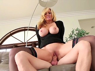 Big-breasted MILF in black stockings carefully moistened penis and quickly brought male to ejaculation