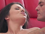Macho erupted sperm on yummy brunette after unforgettable anal fuck on red couch 6
