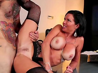 Tattooed fucker penetrated and released sperm in mouth of tanned MILF with huge hooters