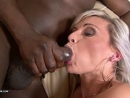 Light-haired lady stimulated holes with vibrator then let black cock inside asshole 11
