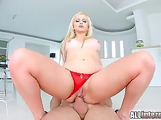 Fucker's fat thing doesn't leave blonde Portuguese whore's asshole till creampies her to the full