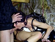 Uninhibited couple and their young maidservant enjoy anal threesome right in the barn 3