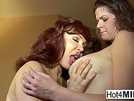 Luxurious ladies slowly undressed then kneaded huge boobies and licked vaginas