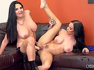 Lustful brunettes with big hooters were in need of strapon and double-sided dildo to have good time