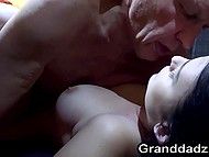 After passionate kissing with old man, attractive brunette desired hot fuck in garage 7
