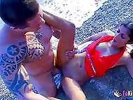 Gym rat with tattooed body brings petite French babe to the beach, where puts her sissy on hard stick 10