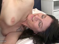 Dark-haired MILF starts her day with anal interracial action that finishes with creampie 11