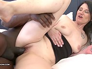 Dark-haired MILF starts her day with anal interracial action that finishes with creampie 7
