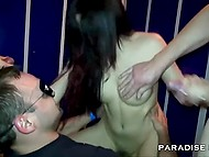 Horny German girl in high heels agreed to serve several cocks in locker room 5