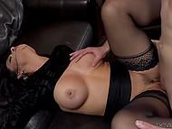 Astonishing brunette in black stockings playfully moistened penis before severe fuck 9