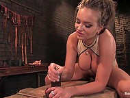 Stacked babe spanked black dude then put on strapon and took care of his ass in basement 11