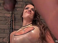 Stacked babe spanked black dude then put on strapon and took care of his ass in basement 6