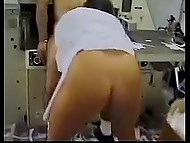 Haired boss remains in private with fatty Turkish secretary and throws her a leg in storage room 4
