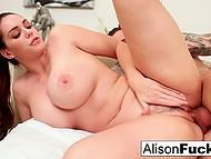 Corpulent MILF with juicy boobs during rendezvous enjoys lover's cock deep in her twat 4