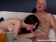 Young slutty brunette seduced her grey-haired uncle for sensual act of sex