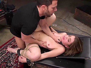 Tied up petite girl fulfills perverted guy's lustful desires to be awarded with fucking