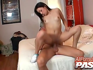 Gentle blowjob from Latina beauty perfectly prepared guy's penis for shaved pussy invasion