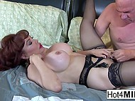 Big-tittied MILF teased bald man's cock with feet and he fucked neat pussy in missionary 4