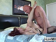 Big-tittied MILF teased bald man's cock with feet and he fucked neat pussy in missionary 8