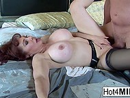 Big-tittied MILF teased bald man's cock with feet and he fucked neat pussy in missionary 9