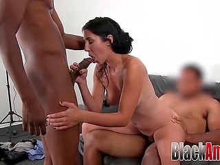 Pale-skinned brunette easily brought two black fuckers to ejaculation at casting