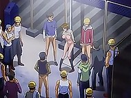 Big-boobied character of cartoon for adults was surrounded by crowd of males and got tight holes penetrated