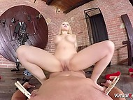 Big-tittied honey brought man a lot of pain then took active ride on hard device