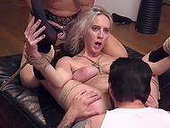 Experienced debauchee together with outstanding lady don't give tied up girl to relax 9