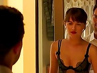 Piquant scenes from world-famous movie 'Fifty Shades Darker' featuring celebrity Dakota Johnson