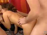 Arab female with curly hair needs to treat two fucksticks at the same time at porn casting 5