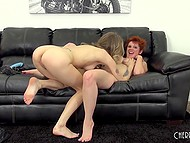 Woman with short red hair and loyal friend participate in lesbian scene with strapon 10