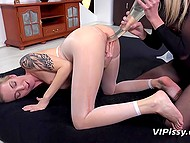 Lesbian games of blonde-haired girls were missing something specific and they resorted to pissing 5