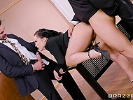 Scruffy husband had to obey judge's order and they double penetrated his wife Kristina Rose 4