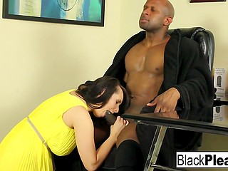 Horny girl needs cock that's why she disturbs black guy and starts to work out his cock with mouth and pussy