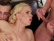 Threesome scene with blonde-haired MILF that includes participation of young bisexual guy 8