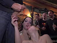 Men fucked chicks in the bar and Spanish public was applauding vigorously to each cumshot 10