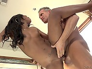 Older man demonstrated black girl pussylicking skills and banged groomed cunt on kitchen counter 4