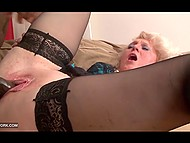 Energetic black macho screwed mature lady in fashioned stockings and released cum her shaved hole