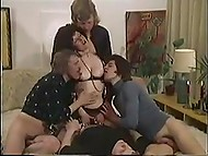 Vintage porn clip from Denmark with curly-haired MILF getting fucked by four photographers