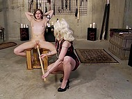 Blonde mistress had fun with petite colleen in basement and spanked her hard in kitchen