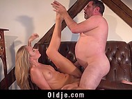 Thoughtful colleen gladly helped old fat male to relax during high-class fuck