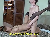 Long-legged Thai whore in fishnet outfit services white tourist and gets cum in lustful mouth